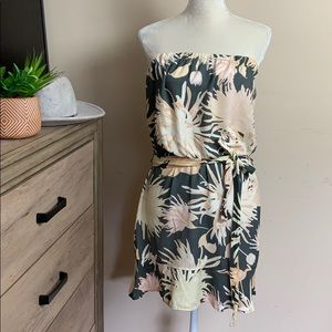 cloth & stone•tropical print strapless mini dress
